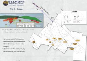 Belmont A-J property mineralized zones