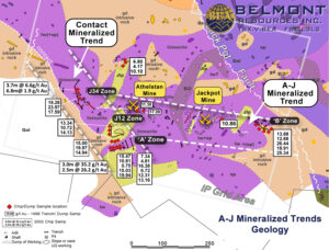Belmont Resources AJ Property AJ Mineralized Gold Trends